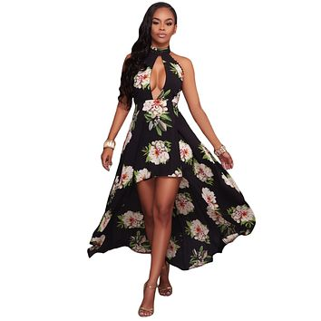 Black Floral Print High-low Halter Maxi Boho Dress