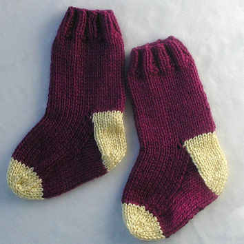 ON SALE Knit Baby Socks Burgundy with Yellow Size 6 to 9 months