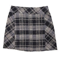 Zip Plaid Skirt