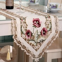 Embroidery Table Runner Floral Elegant Table Runner Cutwork Embroidery Tablecloth Table Cover Wedding Decoration