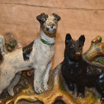 Vintage Cast Iron Hunting Dog Bookends, Cast Iron Bookends, Dog Bookends, Pair of Cast Iron Hunting Dog Bookends