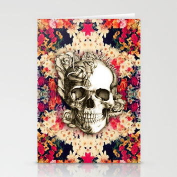You are not here Day of the Dead Rose Skull. Stationery Cards by Kristy Patterson Design