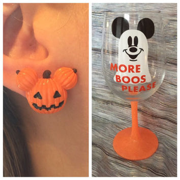 Halloween Bundle Mickey Pumpkin earrings and Disney ghost Wine Glass