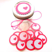 12 Adhesive Labels -Hot Pink, 2inch Scallop Circle, Heart Punched, Gift Tags, Baby Shower Favors, Mason Jar Labels, Wedding Favors