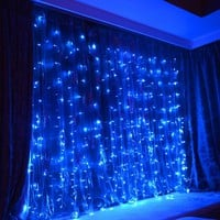PuTwo  BLUE Led Party Lights 9.8ft9.8ft 304 LEDs Lights Decorating Holiday Wedding Curtain Lights Icicle String Lights