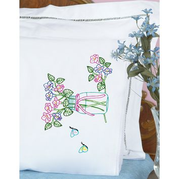 Mason Jar Jack Dempsey Stamped Pillowcases W/White Lace Edge 2/Pkg