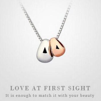 womens sterling silver cute love bean pendant necklace gift 90  number 1