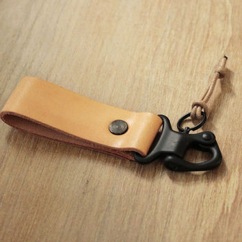 Handmade Military Clip Leather Keychain Keyring Keyfob Leather Key chain leather key fob (MC-54)
