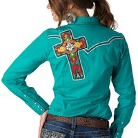 Ariat Women's Rosario Turquoise with Embroidered Cantina Bonita Cross Long Sleeve Western Shirt