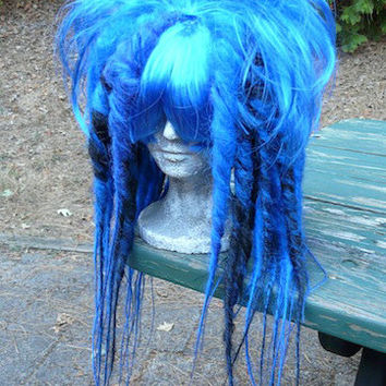 Black & Blue Full Dread WIG Hair Art cyber goth punk hippie boho gypsy festival circus rave raver cosplay comic con anime japan hippy big
