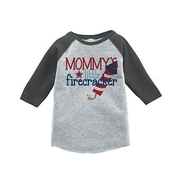 Custom Party Shop Mommy's Firecracker 4th of July Raglan Tee