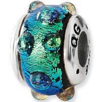 Reflection Beads Silver Blazing Blue Bubbles Dichroic Glass Bead
