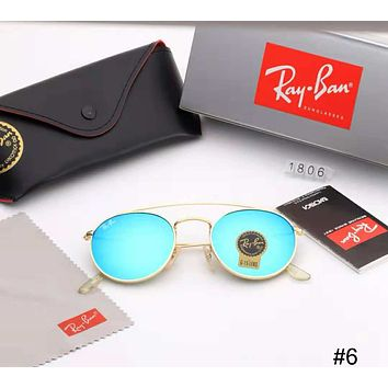 RayBan trend men and women round frame retro metal color film sunglasses #6