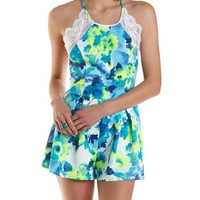 Blue Combo Strappy-Back Lace-Trim Floral Romper by Charlotte Russe