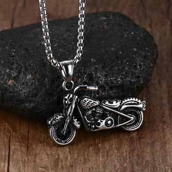 Skull Rider Vintage Motorcycle SS Necklace Set