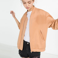 SATIN STRETCH BOMBER JACKET