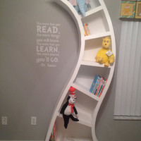 Dr Seuss wooden unique whimsical custom bookcase shelf