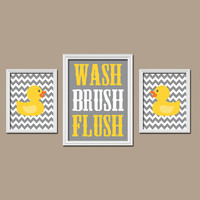 Rubber Duckie Bathroom Gray Yellow Duck Wall Art Nursery Artwork Girl Boy Child Bath WASH Brush Flush Chevron Set of 3 Trio Prints