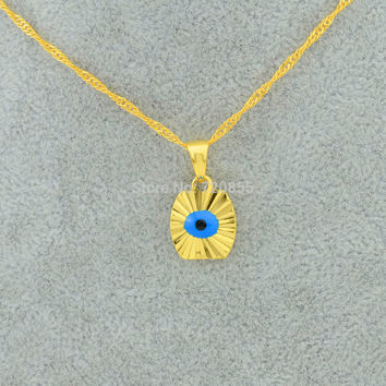 Small mini gold blue eye - gold plated filled evil eye pendant necklaces chain kids girls arabic jewelry Item new new arrival