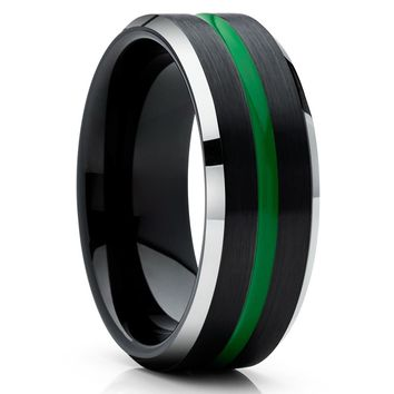 Green Tungsten Ring - Black Tungsten Wedding Band - Green Tungsten Ring - Black Ring