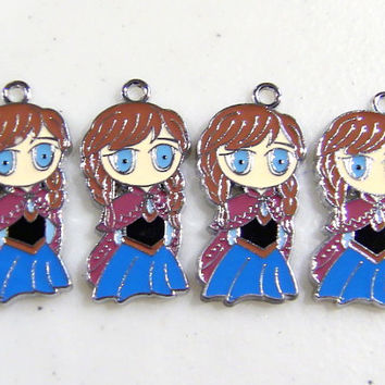 Disney Frozen Princess Anna Charm 4 Pcs Stainless Steel Pendant Metal Necklace Bracelet 30 x 15 mm Size