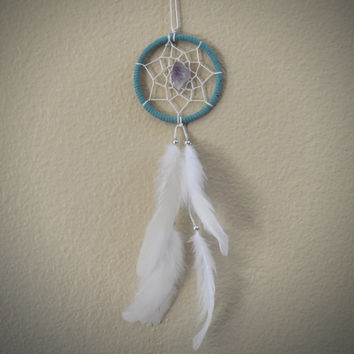 Dream Catcher for Car Mirror- Blue, White, and Amethyst