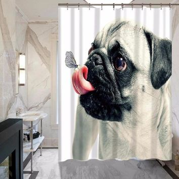 Factory Direct Sales Animal Dog Polyester Waterproof Shower Curtain Suite Bathroom Hotel Home Curtain MYSC0055