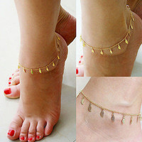 Women Gold Plated Toe Ring Ankle Bracelet Leaf Chain Link Foot Jewelry Anklet