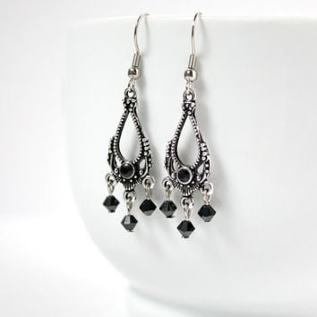Long Black & Silver Dangling Swarovski Chandelier Teardrop Earrings, 20s Vintage Style, Downton Abbey, Elegant Period Jewelry, Ready to Ship
