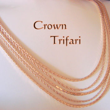 Vintage Crown Trifari Goldtone Multi Chain Statement Runway Necklace Designer Signed Jewelry Jewellery