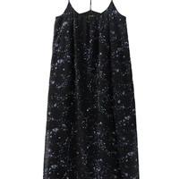 Navy Galaxy Print Split Cami Dress