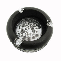 SasineeCrafts of Wood Stump Carved Elephant Into the Silver Ashtray