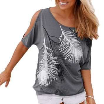 Slit Sleeve Cold Shoulder Feather Print Women Casual Summer T Shirt Girl 2016 Tee Tshirt Loose Top T Shirt Plus Size