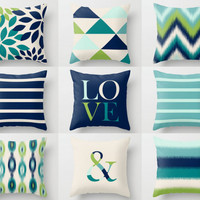 Throw Pillow Covers, Navy Teal Aqua Beige Green, Home Decor, Mix and Match, Accent Pillows, Love, Ampersand, Ikat, Chevron, Cushion Covers