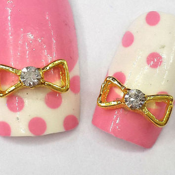 2pc Gold 3D Nail Art Bow Bowtie Bow Tie Ribbon Nail Gems Nail  Rhinestones  Nail Art Pair Them With Our Great Nail Decals