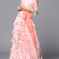 Pink Mesh Floral Embroidery Layered Maxi Dress