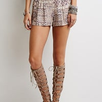 Pleated Southwestern Print Shorts