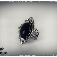 Black Onyx Stone Victorian Ring - Silver Plated Ornate Gothic Ring - Goth Victorian Jewelry