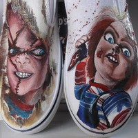 Custom Painted Classic Horror Movies Vans Converse Toms Chucky Frankenstein Any Charac