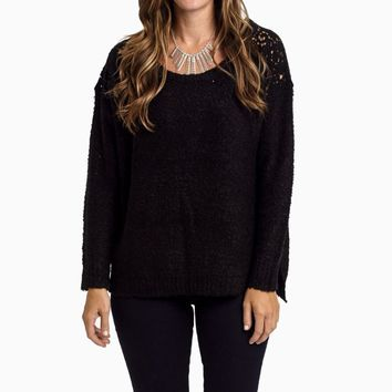 Black-Sparkle-Crochet-Shoulder-Knit-Sweater