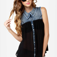 Sweet Caroline Denim and Black Button-Up Top