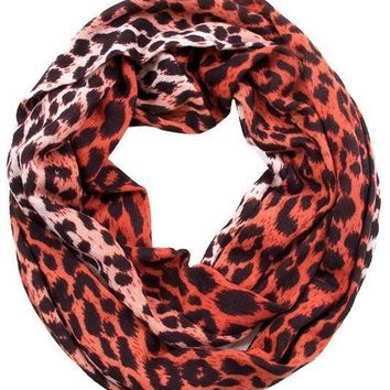Rust Leopard Print Infinity Scarf