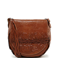 Patricia Nash Firenze Rose Tooled Large Flap Cross-Body Bag - Florence