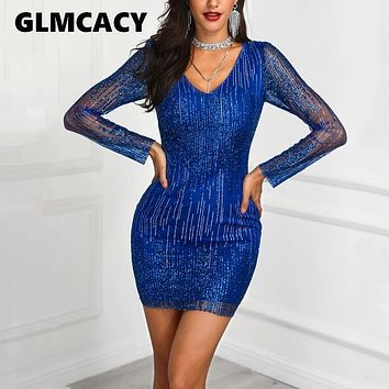 Women Sheer Mesh Overlay Sequin Sparkly Party Dress Ladies Spring Fall Bodycon Sexy Dress Vintage Elegant Mini Dresses