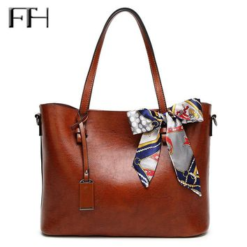 Famous Fashion Oil Wax Leather Women big tote Bags with scarve bowknot Lady luxury Shoulder handbags female sexy messenger bags
