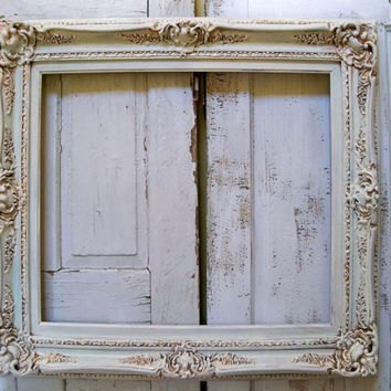 Large ornate ivory and gold Baroque style frame distressed shabby chic French wall decor Anita Spero