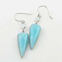 Smithsonite & Moonstone Sterling Silver Earrings