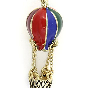 Hot Air Balloon Necklace Antique Rainbow Pendant Vintage NM10 Retro Fashion Jewelry