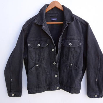 Vintage BLACK JEAN JACKET Medium Womens Cropped 90s Esprit Denim Boyfriend Jacket Soft Grunge