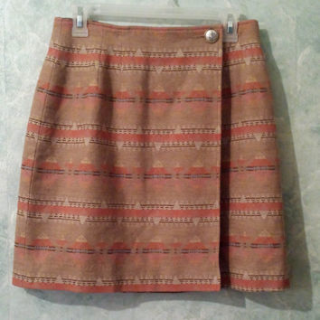 Vintage PENDLETON Mini Skirt, Southwest, Aztec, Tribal Print Wrap Skirt, Virgin Wool, High Waist
